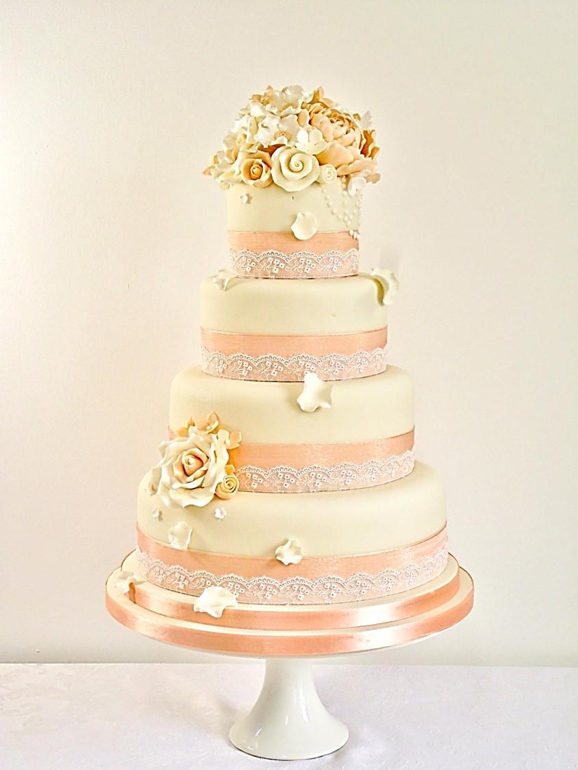 Peach Wedding Cake Stand